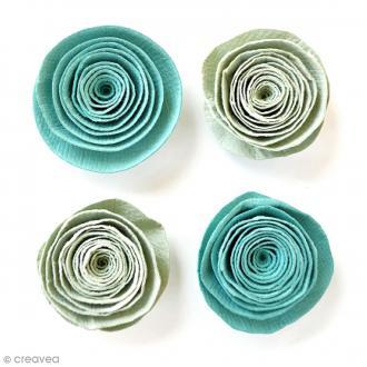 Fleurs spirales en papier 3 cm - Pacific Blue - 4 pcs