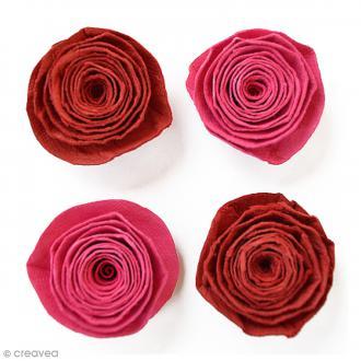 Fleurs spirales en papier 3 cm - Cerise Pink - 4 pcs
