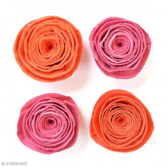 Fleurs spirales en papier 3 cm - Scarlet Blush - 4 pcs