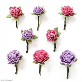 Fleurs en papier 1,5 cm - Mulberry Blush - 8 pcs