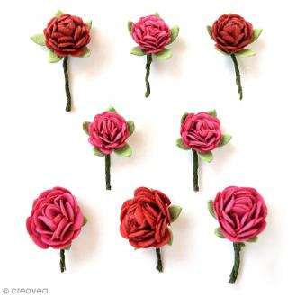 Fleurs en papier 1,5 cm - Cerise Pink - 8 pcs