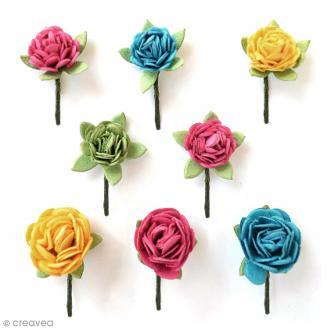 Fleurs en papier 1,5 cm - Candy Crush - 8 pcs