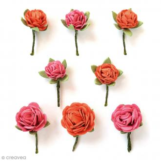 Fleurs en papier 1,5 cm - Scarlet Blush - 8 pcs