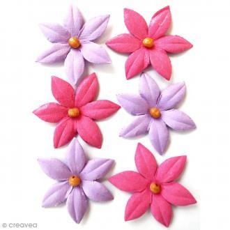 Fleurs en papier 4,5 cm avec perle - Mulberry Blush - 6 pcs