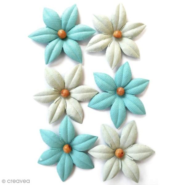 Fleurs en papier 4,5 cm avec perle - Pacific Blue - 6 pcs - Photo n°1