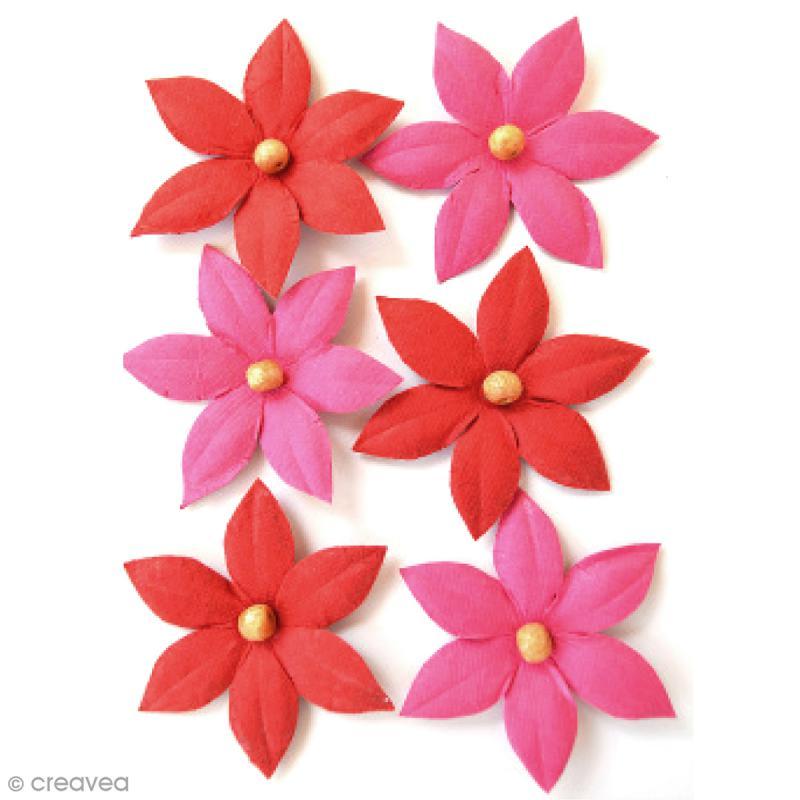Fleurs en papier 4,5 cm avec perle - Cerise Pink - 6 pcs - Photo n°1