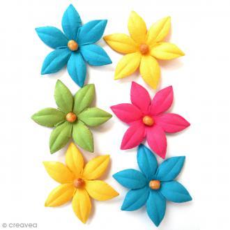 Fleurs en papier 4,5 cm avec perle - Candy Crush - 6 pcs