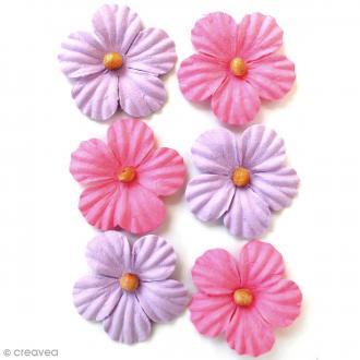 Fleurs en papier 3,5 cm avec perle - Mulberry Blush - 6 pcs