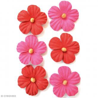 Fleurs en papier 3,5 cm avec perle - Cerise Pink - 6 pcs