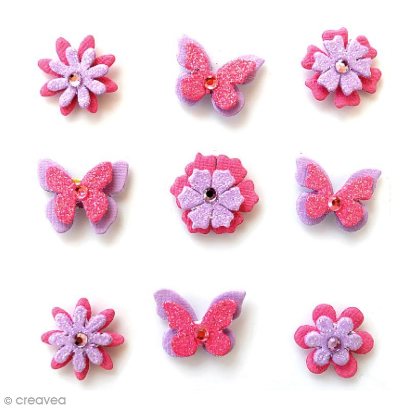 Papillons et fleurs pailletés 2 cm - Mulberry Blush - 9 pcs - Photo n°1