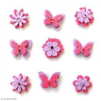 Papillons et fleurs pailletés 2 cm - Mulberry Blush - 9 pcs