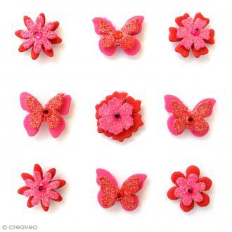 Papillons et fleurs pailletés 2 cm - Cerise Pink - 9 pcs