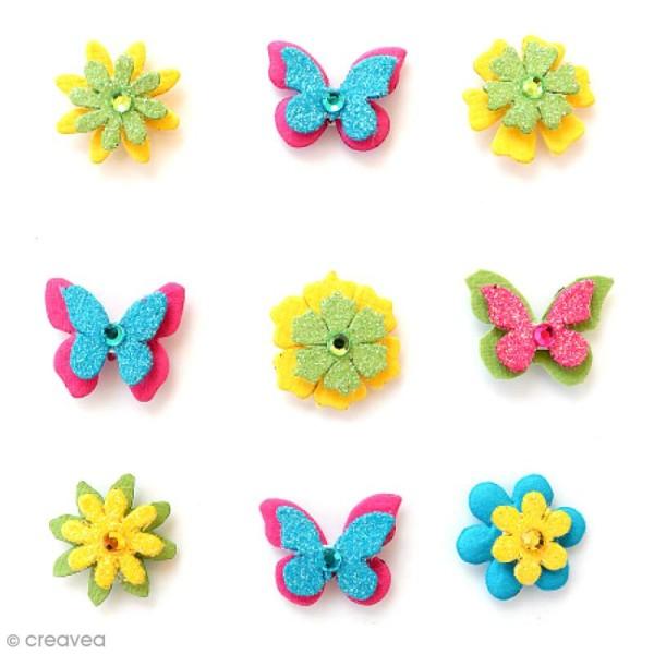 Papillons et fleurs pailletés 2 cm - Candy Crush - 9 pcs - Photo n°1