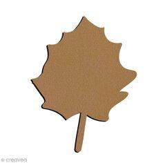 Forme en bois à décorer - Feuille de Peuplier - 4 x 7 cm