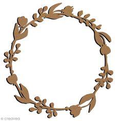 Grande couronne fleurie en bois à décorer - Ronde - 21 cm