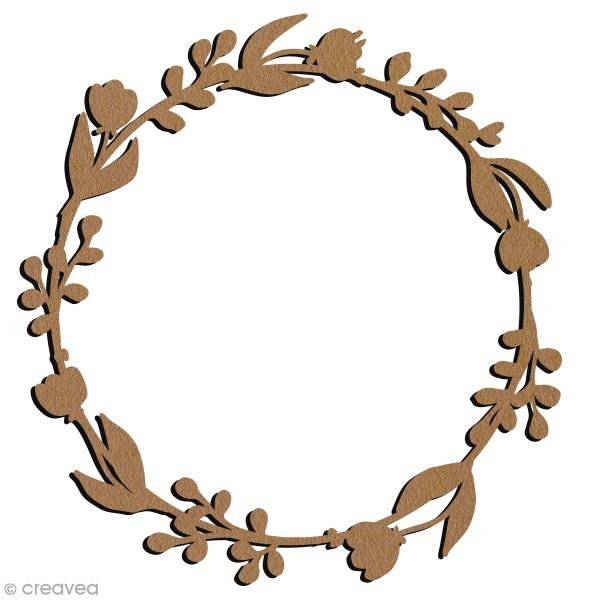 Grande couronne fleurie en bois à décorer - Ronde - 21 cm - Photo n°1
