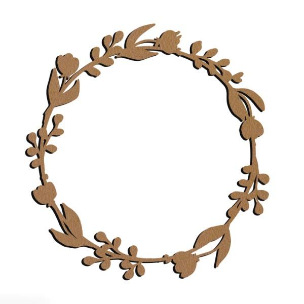 Couronne fleurie en bois à décorer - Ronde - 15 cm - Photo n°1