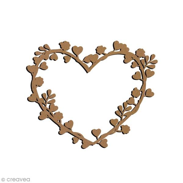 Couronne fleurie en bois à décorer - Coeur - 15 x 13 cm - Photo n°1