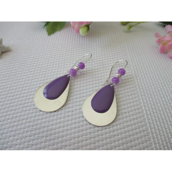 81f87148e0f150 Kit de boucles d'oreilles goutte argentée et sequin émail violet