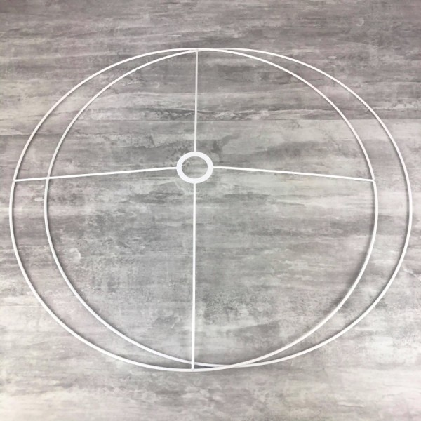 Grand Set d'Ossature Diamètre 80cm pour abat-jour, Anneaux ronds Epoxy blanc, pour douille diam 40mm - Photo n°1