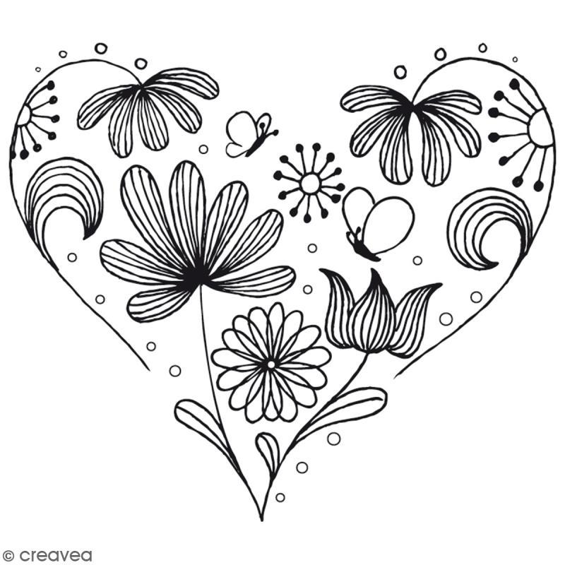 Tampon bois coeur fleurs 6 5 cm tampon bois creavea - Dessin avec des coeurs ...