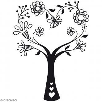 Tampon bois Arbre fleurs - 6,5 x 3 cm