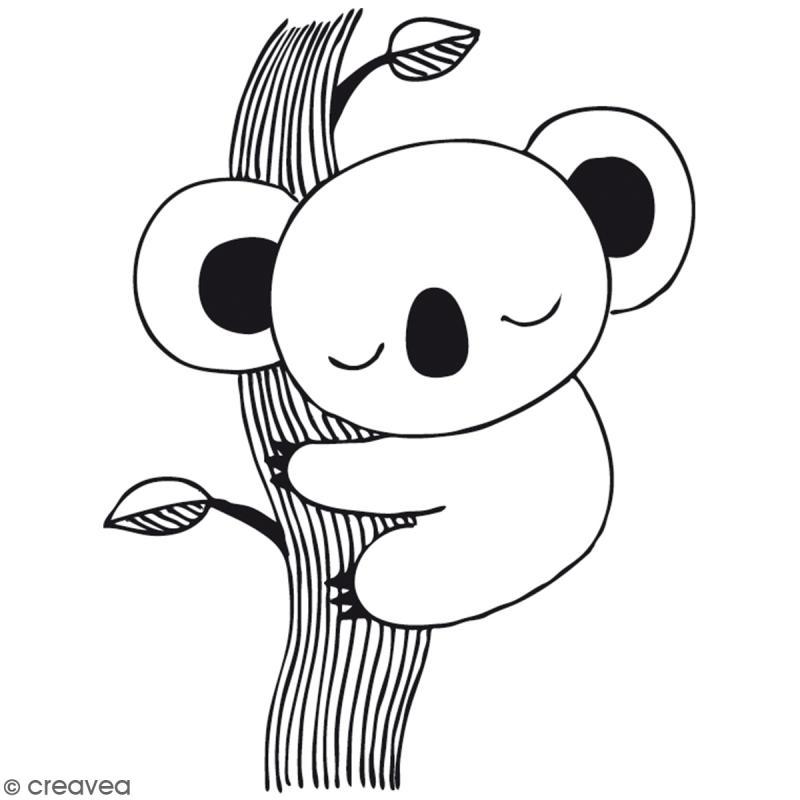 Tampon bois Koala - 6,5 x 4,6 cm - Tampon bois - Creavea