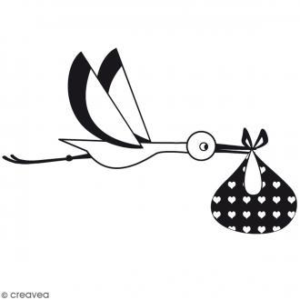 Tampon bois Cigogne livraison - 7 x 4,5 cm