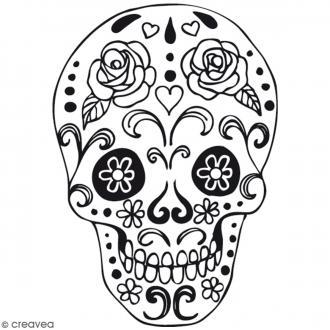 Transfert textile thermocollant 9 x 14 5 cm t te de mort transfert textile creavea - Decoration mexicaine a imprimer ...