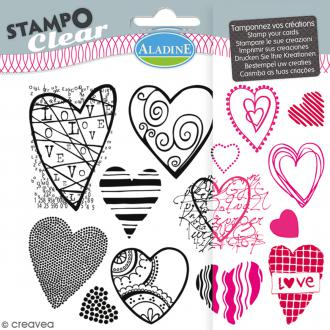Tampons Clear Aladine - Coeur - Planche de 15 x 12,5 cm - 14 pcs