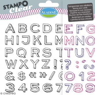 Tampons Clear Aladine - Alphabet Neo - Planche de 15 x 12,5 cm - 54 pcs