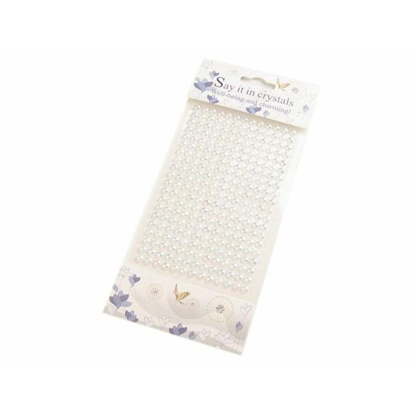 1card Blanc Auto-Adhésif de Fausses Perles Stickers Ab Effet 6mm, Auto-adhésives, de Décorations, de - Photo n°1