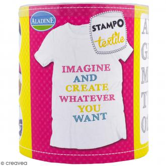 Stampo'textile - Kit de tampons avec encreur - Alphabet Graf - 39 pcs