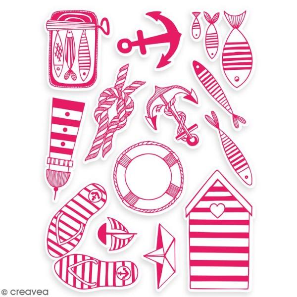 Stampo'textile - Kit de tampons avec encreur - Navy - 15 pcs - Photo n°2