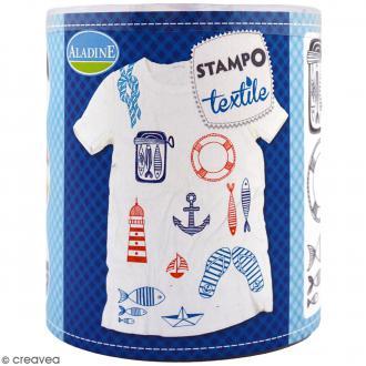 Stampo'textile - Kit de tampons avec encreur - Navy - 15 pcs
