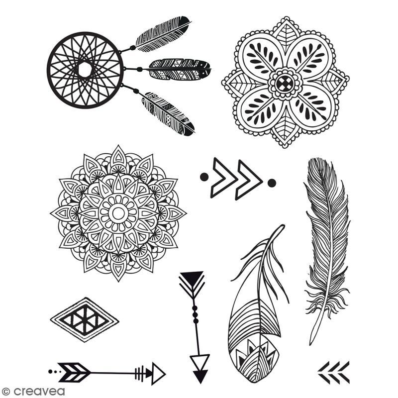 Stampo Tatoo - Kit de tampons avec encreur - Ethnique - 10 motifs - Photo n°2