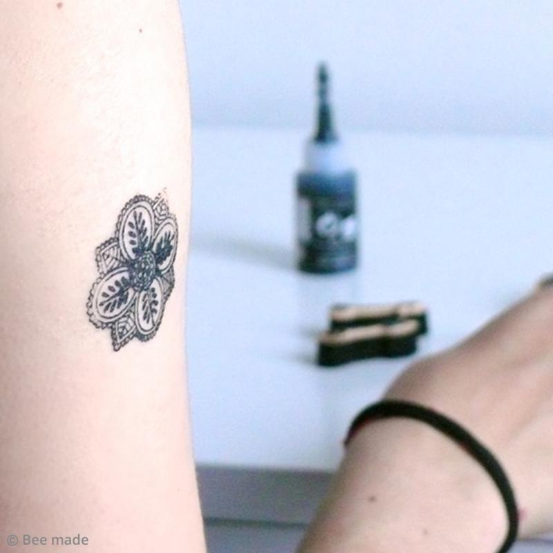 Stampo Tatoo - Kit de tampons avec encreur - Romantique - 14 motifs - Photo n°6