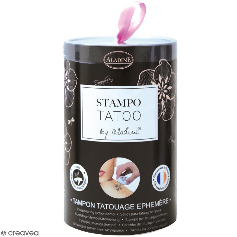 Stampo Tatoo - Kit de tampons avec encreur - Romantique - 14 motifs - Photo n°1
