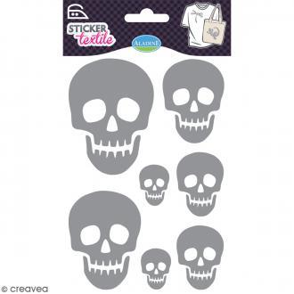 Stickers textile thermocollants Aladine - Têtes de mort pailletées - De 3 à 8 cm