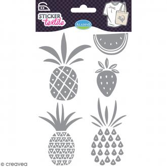 Stickers textile thermocollants Aladine - Fruits exotiques pailletés - De 4,6 à 8,2 cm