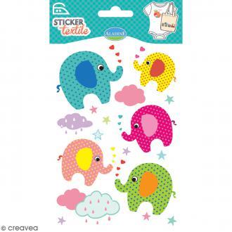 Stickers textile thermocollants Aladine - Eléphants - De 3 à 6 cm