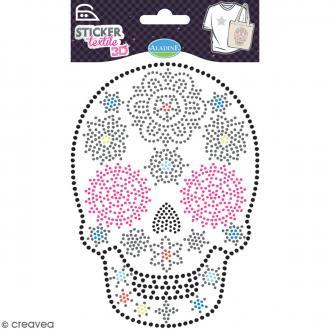 Motif thermocollant strass textile - Tête de mort Mexique - 13,6 x 9,5 cm