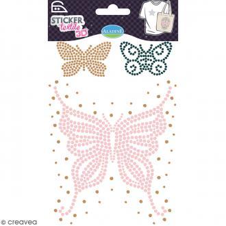 Motif thermocollant strass textile - Papillons - De 4 à 13 cm