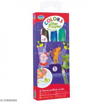 Marqueurs Colors Glitter Marker - Glitter - Gris, vert, bleu - 3 pcs