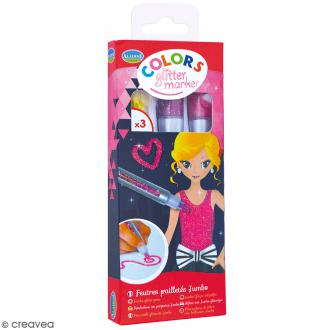Marqueurs Colors Glitter Marker - Glitter - Jaune, violet, rose - 3 pcs