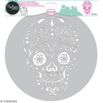 Pochoir textile en Plastique - Tête de mort Mexique - 22,5 x 16 cm