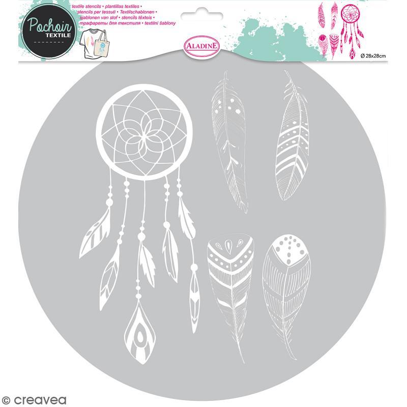 pochoir textile en plastique attrape r ves entre 9 5 et 20 cm pochoir textile creavea. Black Bedroom Furniture Sets. Home Design Ideas