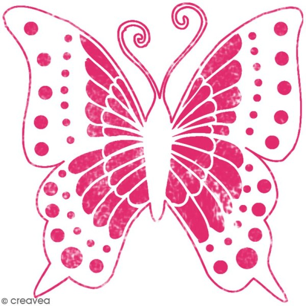 Pochoir textile en Plastique - Papillon - 16 x 17 cm - Photo n°2
