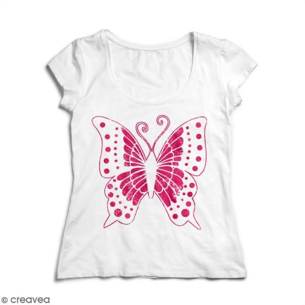 Pochoir textile en Plastique - Papillon - 16 x 17 cm - Photo n°3