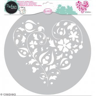 Pochoir textile en Plastique - Coeur floral - 20,5 x 19,5 cm